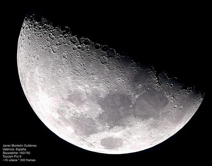 Mosaico de La Luna en cuarto creciente - Fases - fotos astronómicas ...